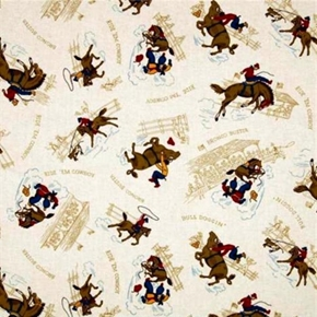 Rideem Cowboy 2 Bull Doggin Bronco Buster Rodeo Cream Cotton Fabric