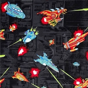 Picture of Coming at You Rockets Spaceships in Battle Black Cotton Fabric