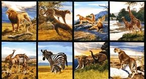 Picture of Bringing Nature Home African Safari Animals 24x44 Cotton Fabric Panel