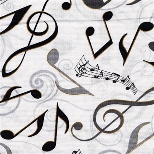All That Jazz Metallic Large Music Notes Musical White Cotton Fabric