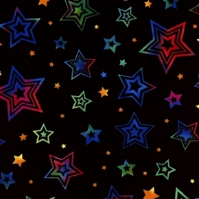 Picture of Party On! Rainbow Colored Stars Black Cotton Fabric