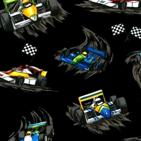 Pedal To The Metal Indie Racecars Black Racing Cotton Fabric