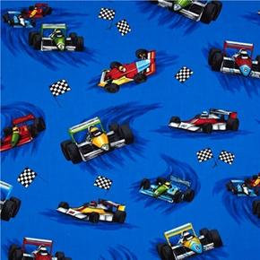 Picture of Pedal To The Metal Indie Racecars Royal Blue Racing Cotton Fabric