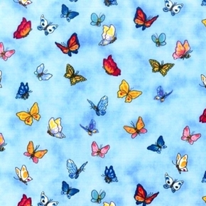 Picture of A Day with Suzy's Zoo Colorful Butterflies 2013 Blue Cotton Fabric