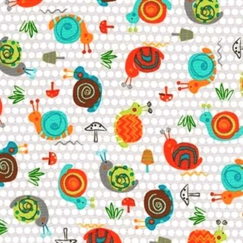 Creatures And Critters Snails Mushrooms Grey Polka Dot Cotton Fabric