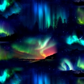 Landscape Medley Northern Lights Aurora Borealis Scenes Cotton Fabric