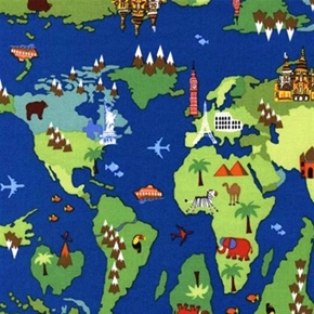 World Map Destination Icons Travel Around The Globe Cotton Fabric
