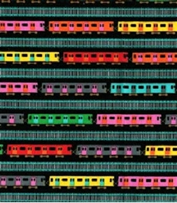 The Big Apple Small Subway Cars And Track Stripe Black Cotton Fabric