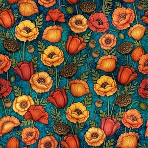 Picture of In Bloom Poppy Flowers Lotus Pods and Leaves Teal Cotton Fabric