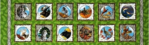 Natures Glory Wild Woodland Animal Block 12X44 Cotton Fabric Strip