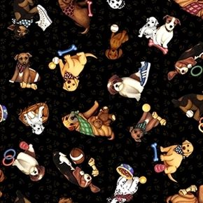 Its a Ruff Life Puppies Bandanas And Toys Black Paw Cotton Fabric