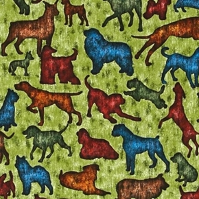 Its a Ruff Life Dog And Puppy Silhouette Green Cotton Fabric