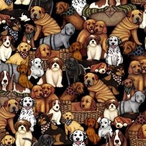 Its a Ruff Life Puppies Dalmatian Bassett Shar Pei Lab Cotton Fabric