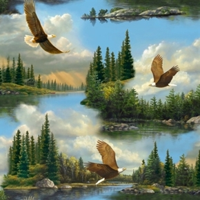 Majestic Eagles Bald Eagle Soaring Over Forest Cotton Fabric
