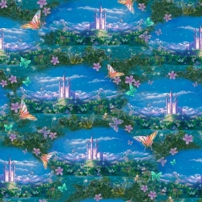 Dreamland Fairies Butterflies And Castles Scenic Cotton Fabric
