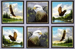Majestic Eagles In Blocks 24X44 Large Cotton Fabric Panel