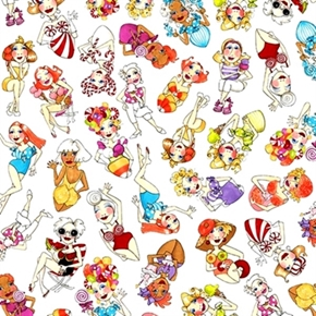 Sweetie Loralie Women With Candy And Sweets White Cotton Fabric