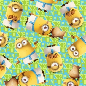 Minion Movie Egyptian Minions Toss Light Green Cotton Fabric