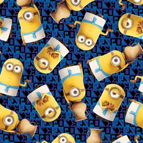 Minion Movie Egyptian Minions Toss Royal Blue Cotton Fabric
