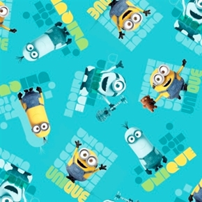 Minion Movie Le Buddies Unique Toss Turquoise Cotton Fabric