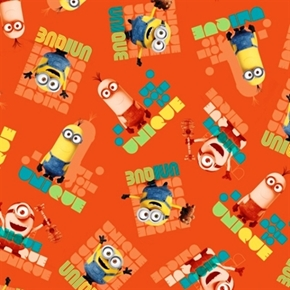Minion Movie Le Buddies Unique Toss Orange Cotton Fabric