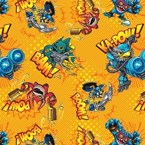 Picture of Skylanders Video Game Characters in Action Yellow Cotton Fabric