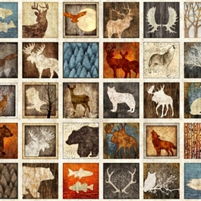 Picture of Woodland Spirit Lodge Animal Patches 24x44 Large Cotton Fabric Panel