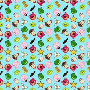 Picture of Disney Emojis Toy Story Tiny Woody Buzz Hamm Rex Emoji Cotton Fabric