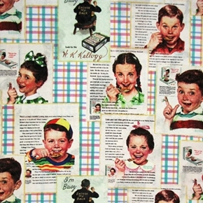 Kelloggs Cereal Ads Advertisements Children Eating Cotton Fabric