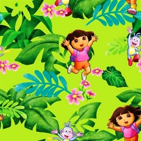 Dora The Explorer And Boots Jungle Fun Green Cotton Fabric