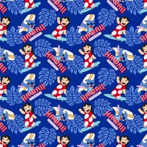 Disney Lilo And Stitch Surfs Up Hawaii Surf Club Cotton Fabric