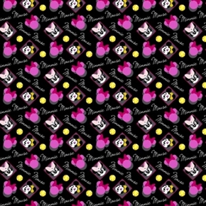 Disney Minnie Mouse Head And Heart Badges Black Cotton Fabric