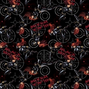 Marvel Black Widow Power Superhero Black Cotton Fabric
