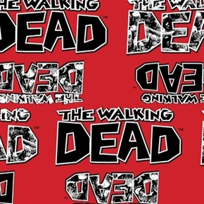 The Walking Dead Zombies Tv Show Title Red Cotton Fabric