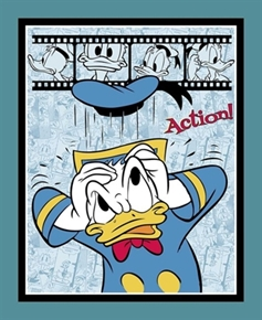 Disney Donald Duck Action Large Cotton Fabric Panel