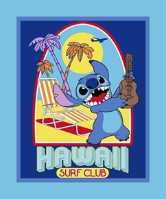 Disney Lilo and Stitch Hawaii Surf Club Large Cotton Fabric Panel