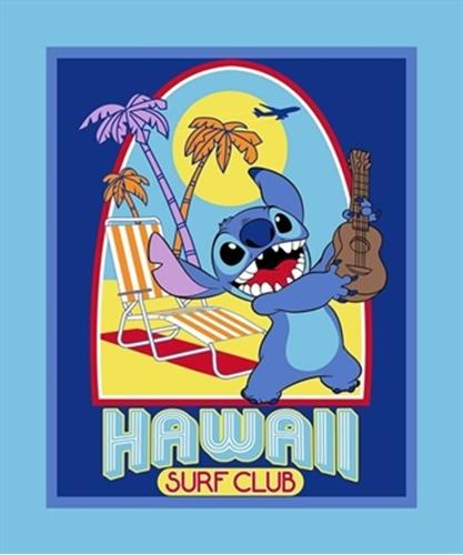 Disney Lilo and Stitch Hawaii Surf Club Large Cotton Fabric Panel