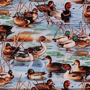 Picture of Duck, Duck, Goose! Mallard Ducks in the Wetlands Cotton Fabric