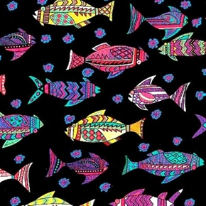 Picture of African Inspirations Colorful Geometric Fish Black Cotton Fabric