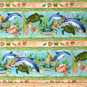 Picture of Neptune's Garden Dolphin Turtle Seahorse Crab Stripe Cotton Fabric