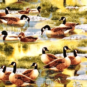 Duck Duck Goose Canadian Geese Wetlands Green Cotton Fabric