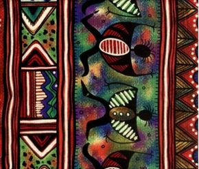 Picture of African Inspirations Colorful Africa Native Stripe Cotton Fabric