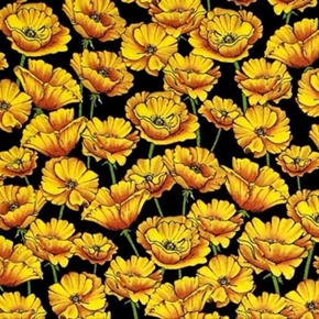 The Magic Of Oz Yellow Poppies Poppy Flowers On Black Cotton Fabric