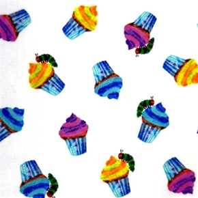 Picture of The Very Hungry Caterpillar Birthday Cupcakes Cotton Fabric