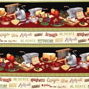 Al Dente Fresh Pasta Varieties Pasta Maker Food Stripe Cotton Fabric