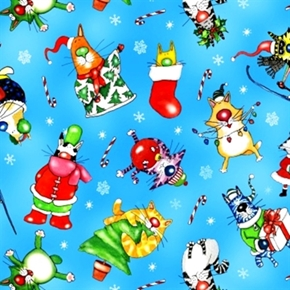 Picture of Christmas Joy Comical Cats Having Holiday Fun Blue Cotton Fabric