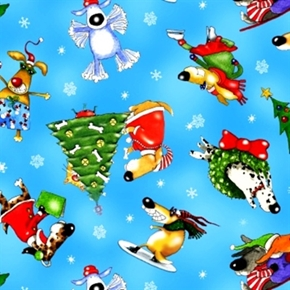 Christmas Joy Comical Dogs Having Holiday Fun Blue Cotton Fabric