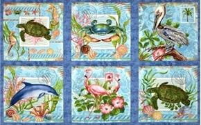 Picture of Neptune's Garden Pelican Flamingo Turtle 24x44 Large Fabric Panel