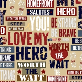 Picture of Homefront Girl Be Strong, Be Brave Love My Hero Phrases Cotton Fabric