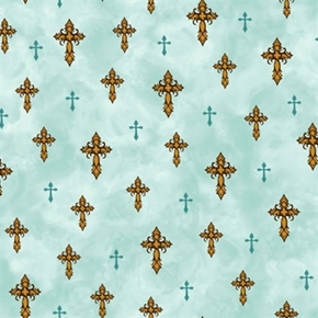 Amazing Grace Religious Crosses Teal Cross Cotton Fabric